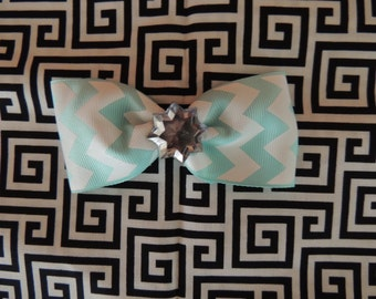 Chevron Teal Hair Bow