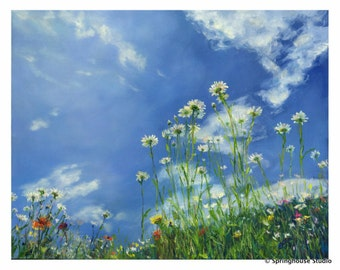 "Daisy and Dandelion Oil Painting Print ""In the Grass"", Dandelion Artwork, Daisy Artwork, Painting of Flowers and Sky, Blues and Greens"