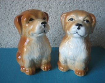 Set of Dog Salt and Pepper Shakers Brown and White Dogs