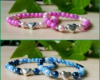 For mum  and  daughter Elastic bracelets two colours pink and blue