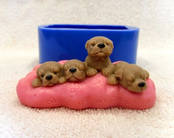 Puppies on a pillow - silicone mold for soap and candles making mould molds soap mold
