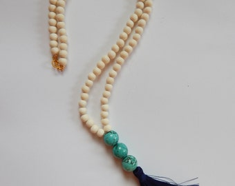 Turquoise and Navy Long Beaded Tassel Necklace