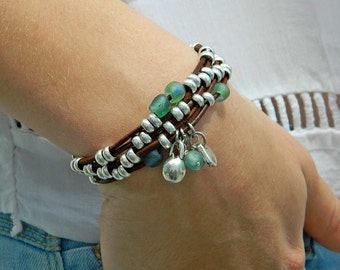 Wrap Boho bracelet,wrap bracelet,leather wrap bracelet,beaded wrap bracelet,leather bracelet, silver plated,beaded bracelet,PV007