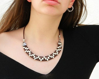 Women leather necklace,leather necklace,beaded necklace,leather cord necklace silver plated,CI007