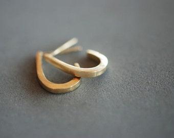 14k gold vintage earrings-14k handmade solid earrings- 14k classic earrings