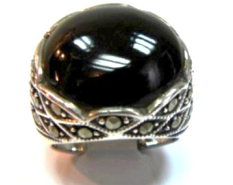 Onyx Ring with Marquasite and Sterling Silver