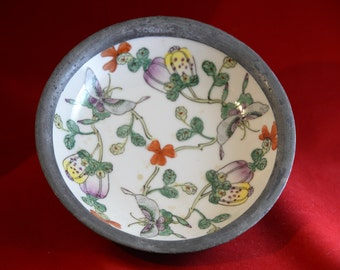 Japanese Porcelain & Brass Hand Bowl Decorated in Hong Kong Flowered with Butterflies Pewter