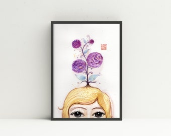 Purple Flower and girl-1