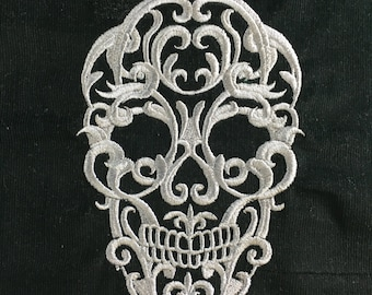 Skull Baroque Machine Embroidered Quilt Block or Appliqué