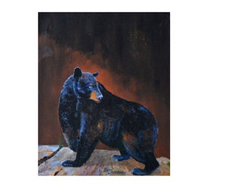 Wildlife art, black bear paintings, titled Rock Bear on CANVAS PRINT