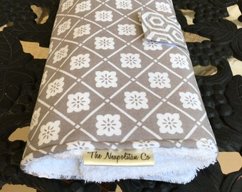 Diaper changing pad Quick changing pad Grey and white flowers HUGE HOLIDAY SALE!