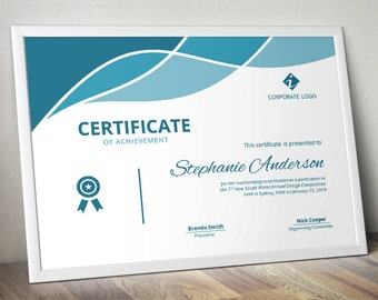 Modern curve certificate template for MS Word (docx)