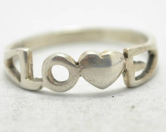 T17E09 Vintage Modern Style Love Heart Valentine's Day 925 Sterling Silver Ring Sz 6
