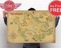 Neverland Map Print // Peter Pan Nursery Print // Captain Hook Print // Amazing HD Detail // Free shipping Worldwide // Google Map