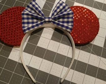 Red, White, and Gingham Blue Minnie Mouse Ears **Fourth of July**