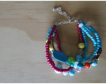 Multi coloured beaded bracelet- 15