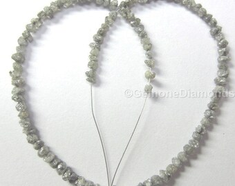 8.00 carat natural gray color rough uncut loose diamond beads strand/chain for making bracelet/chain/leg wear 100% earth mined origin africa