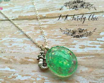 Mermaid Necklace-Foe Opal Necklace-Resin Necklace