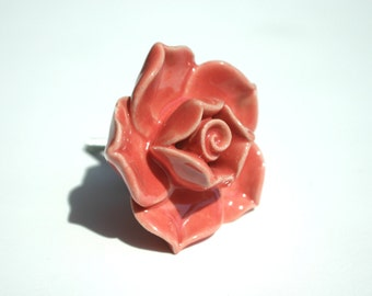 Ceramic Coral Rose Drawer Knob Door Bedroom Cupboard Handles Knobs Shabby Chic