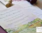 Vineyard Wedding Invitation - Winery Invite - Vineyard Wedding Suite - Vineyard Watercolor Invite