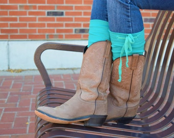 Boot toppers, boot cuffs Draw tie boot topper-kelly green