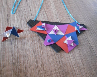 Statement necklace, geometric necklace, leather necklace