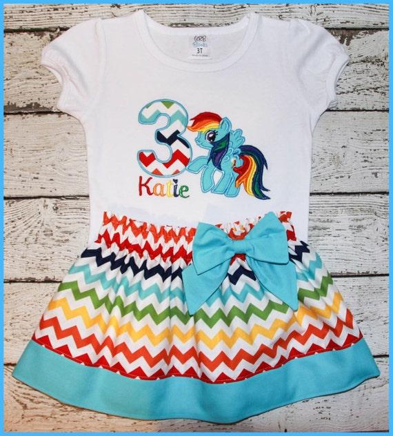 My Little Pony Rainbow Dash Birthday Skirt outfit Name and age included Rainbow Chevron Skirt