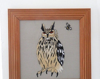 Eagle owl Embroidery, ON SALE! owl gifts, Bird of prey, framed wall art