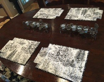 Winter Toile Quilted Placemat and Napkin Set