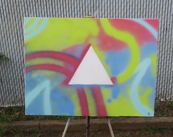 White triangle abstract painting