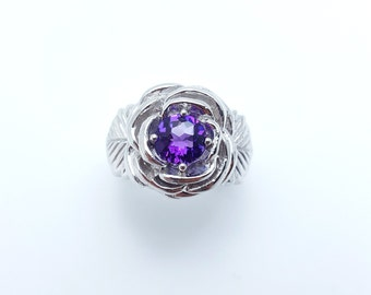 Amethyst Silver Rose Ring, Rose Promise Ring, Natural Amethyst, 925 Sterling Silver
