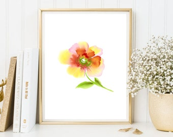 Watercolor paint print red yellow flower floral poster decor home wall art print printable room kitchen home decor green