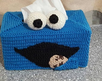 Handmade Cookie Monster Crochet Tissue Box Cover.