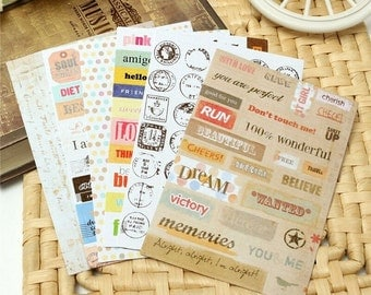 6 Sheets of Paper Stickers /Planner Scrapbook Stickers / Stamps