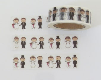 Wedding Washi Tape / Wedding Tape Featuring a Bride & Groom