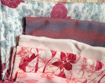KIMONO/JAPANESE/kimono fabric/8 kinds of clothes/ vintage/ Pink/flower/ beautiful Silk clothes / patchwork