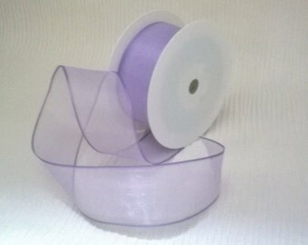 40 mm Ribbon Lilac Organza Sheer Wired Ribbon