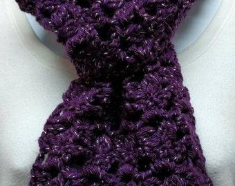 Short Sparkly Dark Purple Crocheted Scarf
