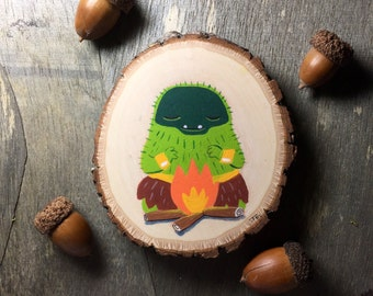Mossman (Campfire) - ORIGINAL PAINTING on wood slice