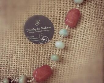 Amazonite & Agate Gemstone Sterling Silver Bracelet