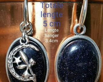 Beautiful earrings, blue sandstone with afneembaare pendant