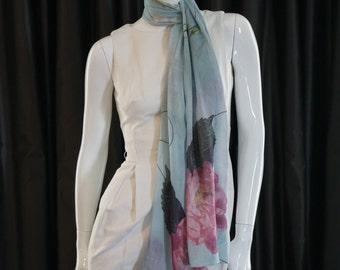 100% Silk Modal Blue Floral Scarf