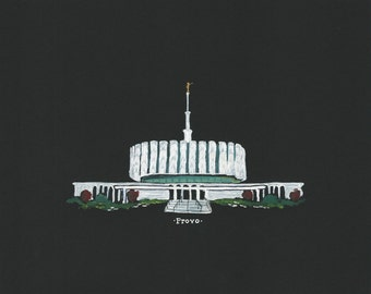 Provo LDS Temple acrylic painting 8x10