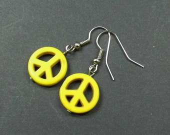 Yellow earrings turquoise peace sign of earrings