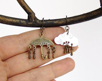 Rain Earrings - Umbrella Earrings - Rainclouds in Bronze