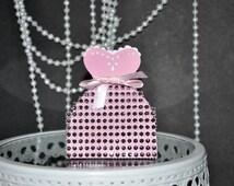 Bridal Gown Bride Favor Box Pink Bling Diamonds- Weddings, Bridal Showers Set of 10