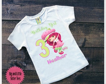 Strawberry Girls Birthday Tee Shirt; Shortcake Birthday Tee or onesie;Onesie 6-24 Month;Tee Size 2T and Up: FREE Personalization;Any Age
