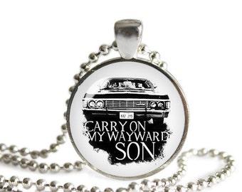 Supernatural Necklace Pendant Fandom Jewelry Sam Dean Carry on my Wayward Son Cosplay Fangirl Fanboy