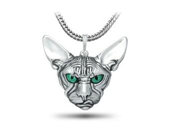 Sphynx pendant, Cat Jewelry, Sphynx Jewelry / Solid Sterling Silver (Silver 925) enamel