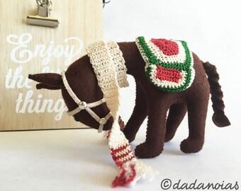 Donkey Ego - Donkey Waldorf - Donkey Wool Felt - Donkey Toy - Donkey Handmade - Soft Sculpture